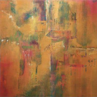 Soaring, abstract painting California mountain range