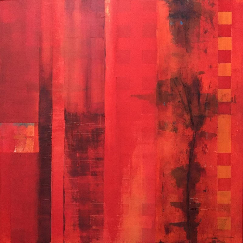 Abstract monochroatic painting in red.